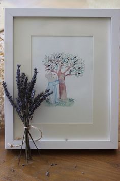 Watercolor Nursery Art The Teddy and the Tree  Print by ViedeVic