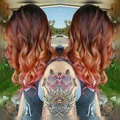 Sunset Red! So in love with this! #olaplex #balayage @rusk_westcoast #pravanavivids #joicointensity @olaplex #guytang @ruskhaircare #rusk #wella #haironpoint #hairpainting #redchairforlife #redchairgirl #redchairsalon #redchairdontcare #toriahairandmakeupartist