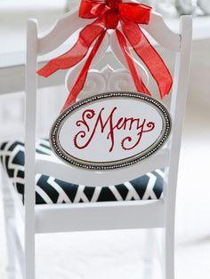 Platter + Paint - 8 Festive Holiday Chair Swag Ideas on HGTV Christmas chair deco