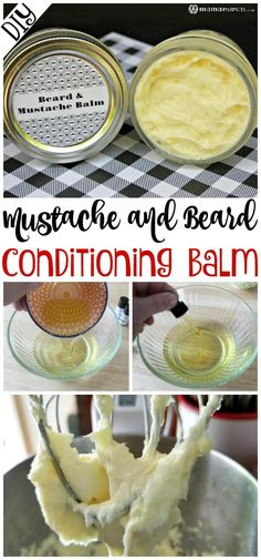 Is your beard feeling a little stiff and scratchy? A mustache and beard balm is a must for anyone with facial hair. This balm conditions, softens, moisturizes and helps style mustaches and beards. Diy Beard Oil, Olive Oil For Beard, Homemade Beard Oil, Natural Beard Oil, Homemade Scrub, Homemade Hair, Homemade Soaps, Homemade Products, Homemade Food