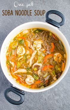 Asian soba noodle soup loaded with fresh vegetables. Rich in fibers and proteins. Healthy option for busy weeknights.