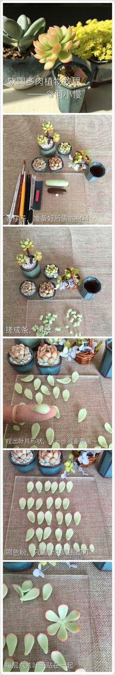 【软陶】多肉植物教程