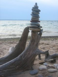 Driftwood and Rock stacking.....Nice