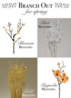 Branch out for Spring! Use branches in your wedding centerpieces. We've got so many different kinds of branches- blossom, natural, metallic, flower, and willow! Wedding Flower Arrangements, Floral Arrangements, Wedding Flowers, Wedding Stuff, Our Wedding, Wedding Ideas, Faux Flowers, Diy Flowers, Centrepieces