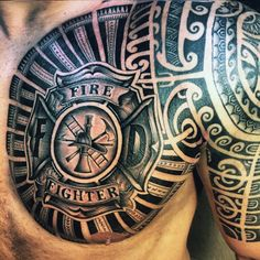 Chest Tattoos This detailed tattoo is great for the chest and arm. It's dark and striking, not to mention it's one hell of a cool tattoo. I love how dark the tattoo is and the original design that is around the firefighter badge. It makes the tattoo truly unique.