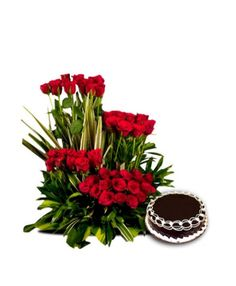 Buy an exclusive hamper of a gorgeous arrangement of 50 long stem red roses in a basket with lots of seasonal fillers along with 1kg chocolate cake. To order it visit:- http://bookurgift.com/422-royal-treat