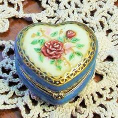 Ring Box, Ornate Porcelain Rose Trinket Box, Lidded Rose Box, Jewelry Box, Vintage Porcelain Heart Shaped Box, Use as a Special Gift Box by BeautyMeetsTheEye on Etsy