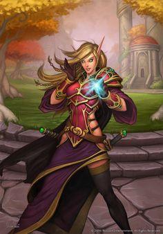 "quarkmaster: "" Blood Elf Marketing artwork for World of Warcraft: Burning Crusade. Art Warcraft, World Of Warcraft Game, Elfa, Fantasy Female Warrior, Fantasy Girl, Dragon Age, Fantasy Characters, Female Characters, Warcraft Characters"
