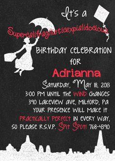 Printable Mary Poppins Birthday Invitation by ChalkingItUpBoards, $15.00