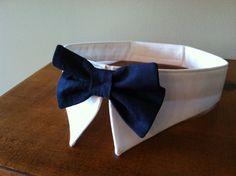 Navy Bow Collar Handmade Dog Bow Tie Collar Dog Ring by MaudeMarie, $24.95