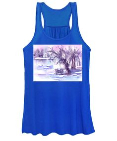 Mist Women's Tank Top featuring the painting Misty Winter at a frozen Pond by Sabina Von Arx Frozen Pond, Forest Fairy, Creative Colour, White Image, Athletic Tank Tops, Sweatshirts, Winter, Painting, Stone