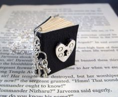 Miniature Book Necklace Under Lock and Key Leather Book Necklace Wearable Art Heart Lock and Tiny Keys Black