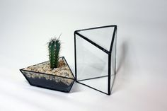Angular Triangle Topped Stained Glass Terrarium