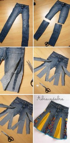 Dress the old jeans Kleid Jeans Recycling verarbeitet Dress the old jeans Kleid . Diy Jeans, Jeans Refashion, Women's Jeans, Skinny Jeans, Clothes Refashion, Jeans Dress, Jeans Rock, Clothes Crafts, Sewing Clothes
