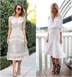 Look com saia midi rendada branca, ótimo para combinar seu sapato de qualquer cor, ótimo para diversas ocasiões