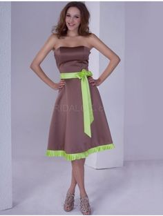 Strapless Sash Satin Bridesmaid Dress
