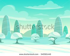 Funny cartoon winter landscape, seamless background for game design
