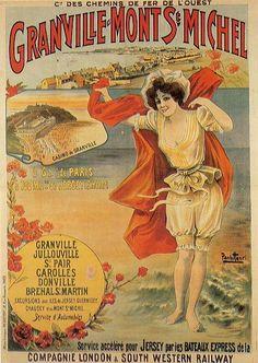 Vintage Railway Travel Poster - Granville - Mont St. Michel - c1900.