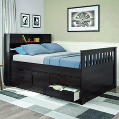 Corliving Madison Full/Double Captain's Bed in Rich Espresso Kids Beds With Storage, Under Bed Storage, Memory Foam, Espresso, Bookshelf Headboard, Captains Bed, Beds Online, Upholstered Platform Bed, Bed Reviews