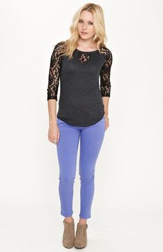 #Kirra Lace Sleeve Raglan Top