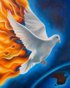 dove art | Holy Spirit fire of revival depicted by a dove descending upon the ...