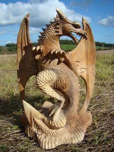 Fairtrade Natural Wooden English Dragon Statue | Siiren Driftwood Sculpture, Lion Sculpture, Viking Dragon, Dragon Heart, Tree Carving, Dragon Statue, Dragon Pictures, Cute Dragons, Dragon Design
