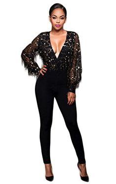 0d2b66918262 Women V Neck Long Sleeve Tassel Sequin Mesh Bodycon Clubwear Jumpsuit  Rompers Black L