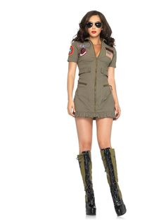 2pc Top Gun Dress Adult Costume Costume Extra 20% off discount! Get this Halloween costume and all Halloween products found in the Social Media Exclusive section for an extra 20% off with code use. CODE: SLASHER2012 EXPIRES: October 27th VISIT: http://www.trendyhalloween.com/social-media-exclusives-C398.aspx?afid=15