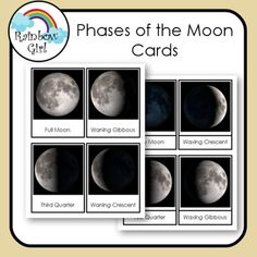 There are 8 Phases of the Moon cards in this free set. 1. Print first set and use as flash cards . 2. Print second set and use for matching word to picture.3. Print both sets and use for matching picture to picture and word to word. Great for Bulletin boards, centers, special education and Montessori ...