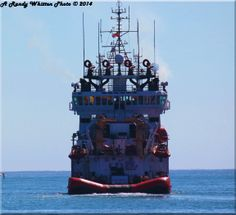 The Canadian Coast Guard Ship 'The Grenfell' leaving port.