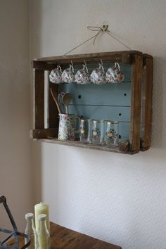 I love to find new uses for old things! I have upcycled this generous old pine fruit crate using duck egg blue chalk paint and some old hooks - I think it now makes a splendid shelf!  It measures 24 inches wide by 18 inches high and 9.5 inches deep (max). I have hung it quite simply using jute string but you could fix it to the wall more permanently.  Postage and packing 15.00 to mainland UK. Further afield please message me for a quote.  There are lots more unique vintage finds on my…