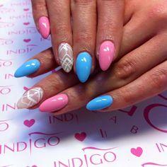 Milky Pink Gel Polish, Lazy Sunday Gel Brush, Pink Elephant Artebrillante oraz Sugar Effect Gel by Sonia z Madeleine Studio, Indigo Wrocław #nails #nail #pastel #pink #babyblue #white #aztec