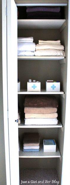 Organizing Meds with Whitewashed Storage Boxes - Linen Closet Organization - Linen Closet Organization, Home Organization Hacks, Organizing Your Home, Bathroom Organization, Organization Station, Organization Ideas, Bathroom Ideas, Tiny Closet, Hall Closet