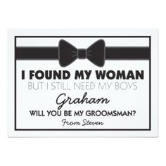 Shop Will You Be My Groomsman Black/White Bow Tie Invitation created by special_stationery. Personalize it with photos & text or purchase as is! Asking Groomsmen, Groomsmen Proposal, Bridesmaids And Groomsmen, How To Ask Groomsmen, Groomsmen Boxes, Bridesmaid Proposal, Bridesmaid Gifts, Groomsmen Presents, The Godfather