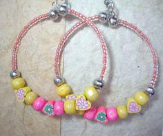 Hoop Earrings Yellow and Pink Summer & by KidsAtHeartBeadShop