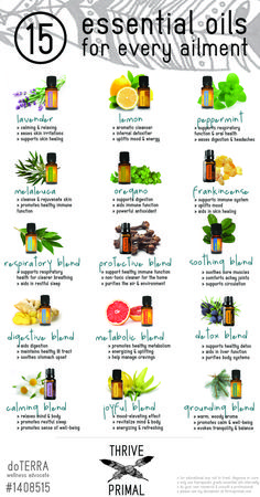 Thrive Primal - 15 essential oils for every ailmentYou can find Essential oils and more on our website.Thrive Primal - 15 essential oils for every ailment Essential Oil Chart, Essential Oils For Headaches, Essential Oil Storage, Essential Oil Uses, Essential Oil Diffuser, Oil For Headache, Doterra Essential Oils, Herbal Remedies, Herbalism
