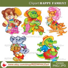 Happy Family2 Clipart Elements Set / 5 PNG/JPG/ For by REDWHALEart