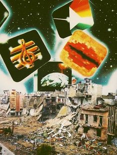 Internal Landscape. Syria Destruction Collage Art by Ayham Jabr.