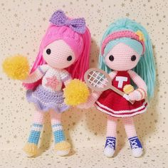 Cheerleader&Tennisplayer . . 언니는 치어리더 동생은 테니스선수 ㅎㅎ 두리 이쁜자매같네 . . #crochet#amigurumi#뜨개질#handmade#cotton#by_me#knitting#kawaii#crochetaddict#wool#craft#yarn#iloveit#코바늘#knit#handcraft#pattern#madebyme#adorable#자매#손뜨개#girl#crochetdoll#치어리더#sisters#sport#tennis#핸드메이드#tennisplayer#cheerleader