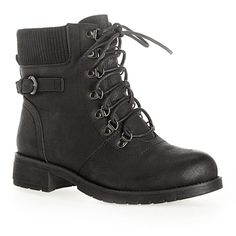 Avenue Jasper Lace-Up Hiking Boot ($40) ❤ liked on Polyvore featuring shoes, boots, black, plus size, vegan boots, engineer boots, black buckle boots, black moto boots and hiking boots
