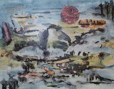 E. Besozzi pitt. 1975 Paesaggio lacustre china e colori trasparenti su cartoncino arc. 1329