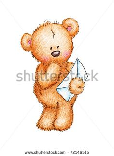 Cute teddy bear with a letter on white background