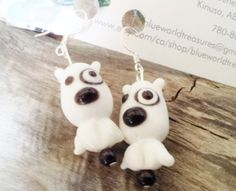 $20 Cute Bull Terrier Dog Earrings Black and white Lamp worked dangle Earrings by BlueWorldTreasures