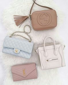 Pastel coloured designer bags that are perfect for spring. Gucci Soho Disco, Chanel Classic Flap, Celine Luggage, YSL
