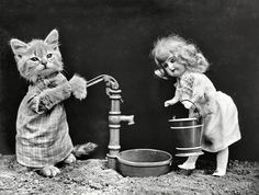 "I Could Use a Drink. 1914. ""Kitten in costume grasping pump handle, ready to fill water bucket carried by doll."""