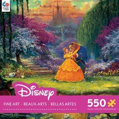 Enjoy a magical night with Beauty and the Beast with this jigsaw puzzle from Ceaco. This 550 piece puzzle features a beautiful image of Belle and the Beast enjoying a dance in the gardens. Full of bri