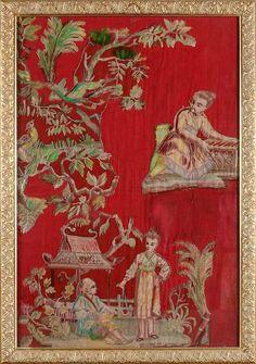 Suite de six panneauxau chinoisdans le goût du XVIIIe siècle, broderie d'application, fin du XIXe siècle.PhotoCoutau-Begarie