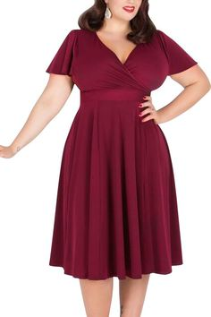 """If you have a hourglass figure this flattering and comfortable dress will be perfect for you. Find it here in eleven colors. """" />"""