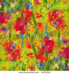 stock photo : Picture, abstract painted canvas as multicolor background