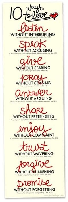 10 ways to love.